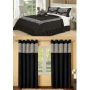 Kit cobre leito Casal King Amazon com uma cortina de 2 metros 5 peças- Preto