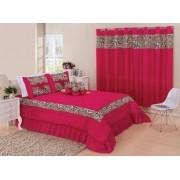 Kit cobre leito Casal King Amazon com uma cortina de 2 metros 5 peças- Pink