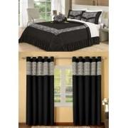 Kit cobre leito Casal Queen Amazon com uma cortina de 2 metros 5 peças- Preto