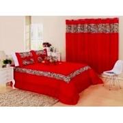 Kit cobre leito Casal Queen Amazon com uma cortina de 2 metros 5 peças- Vermelho
