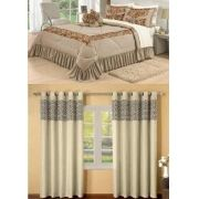 Kit cobre leito Casal Queen Amazon com uma cortina de 3 metros 5 peças- Bege