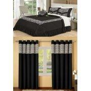 Kit cobre leito Casal Queen Amazon com uma cortina de 3 metros 5 peças- Preto
