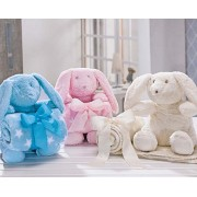 Kit Manta Andreza Fleece Rabbit 90cm x 75cm - Azul