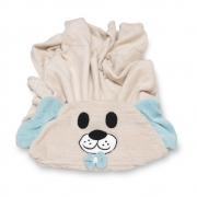 Manta Soft Microfibra Bebê e Infantil com Capuz Bichinho Cachorro Azul