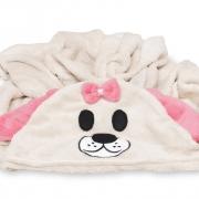 Manta Soft Microfibra Bebê e Infantil com Capuz Bichinho Cachorro Rosa