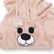 Manta Soft Microfibra Bebê e Infantil com Capuz Bichinho Ursa Rosê