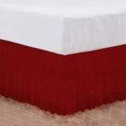 Saia Box Casal Padrão Perolla Bordado Ultrassônico - Vermelho