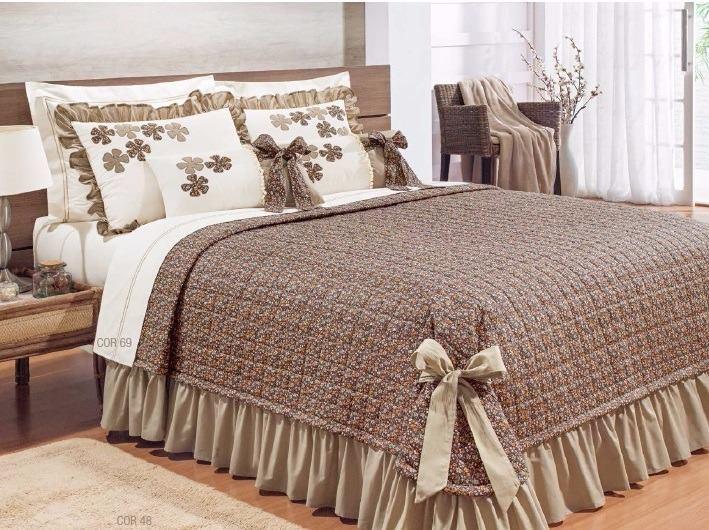 Colcha Queen Doce Lar  Kit 7 peças  tecido Percal 150 fios 100% algodão - Tabaco