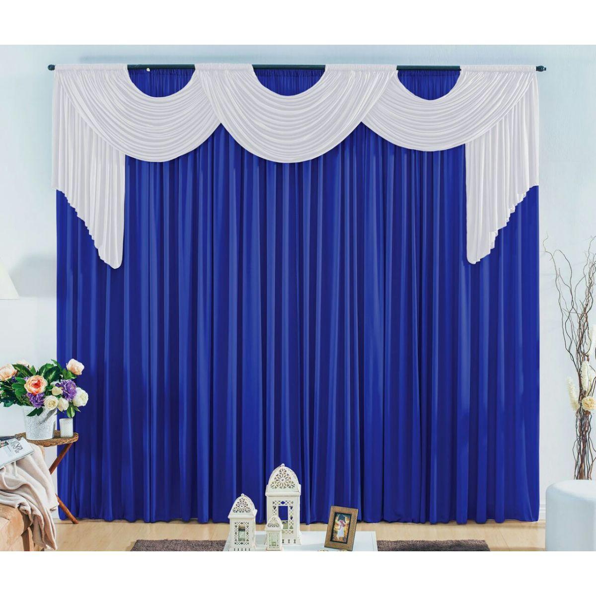 Cortina London tam. 3,00 x 2,80 metros -Cor Azul cobalto com branco