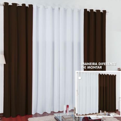 Cortina Lisboa 2 x 1,70m - Preto com Branco
