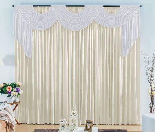 Cortina London - uma cortina creme com branco + uma Creme 3 x 2,80metros