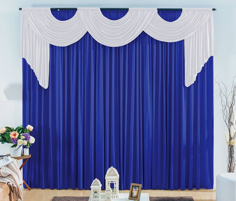 Cortina London Azul com Branco 4,00m Larg x 3,30 Altura - Tamanho Ideal para Igrejas