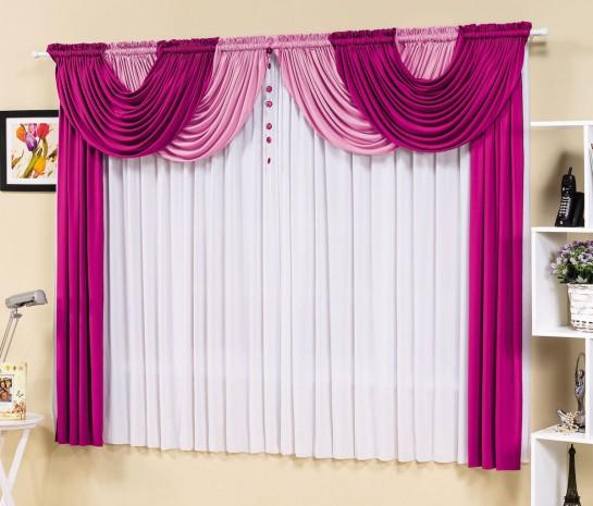 Cortina Esmeralda 3,00m x 2,80m para Varão Duplo - Pink com Branco