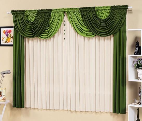 Cortina Esmeralda 2,00m x 1,70m para Varão Duplo - Verde com Branco