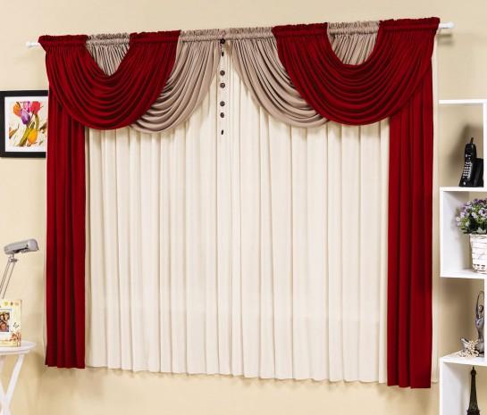 Cortina Esmeralda 2,00m x 1,70m para Varão Duplo - Vermelho com Branco