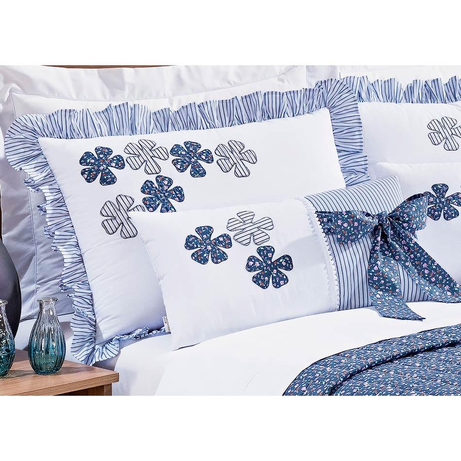 Colcha Queen Kit Doce Lar 100% Algodão Percal 150 Fios - Azul