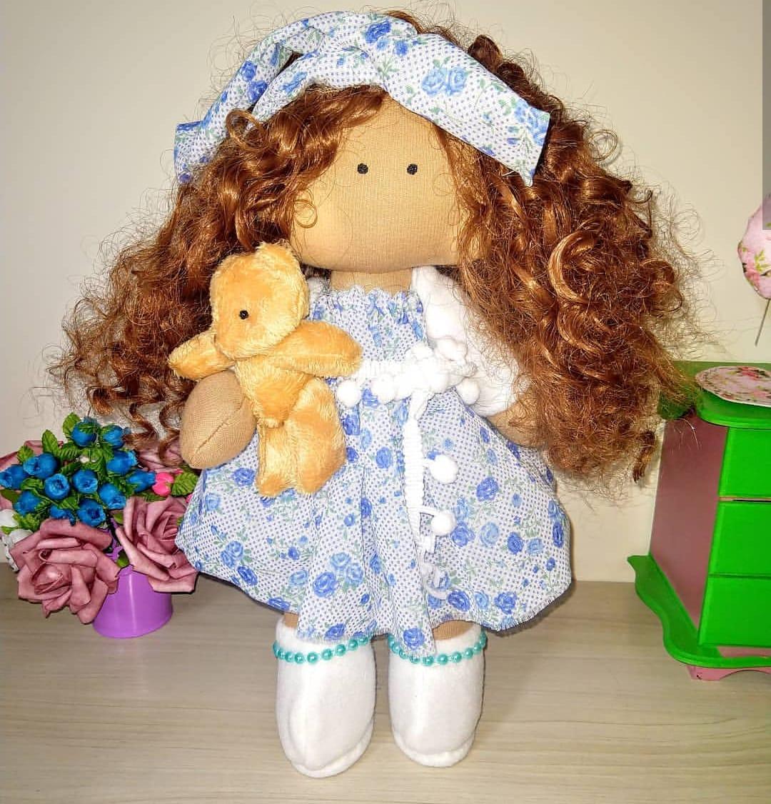 Boneca de Pano Russa Morena- 35cm