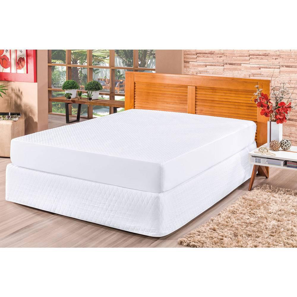 Capa para Colchão Impermeável e Saia cama Box Queen Branca