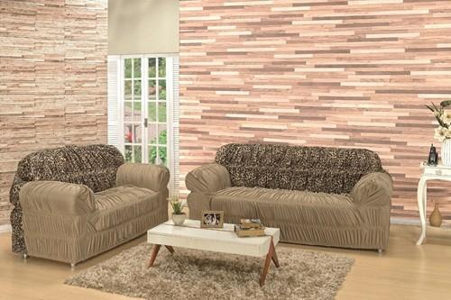 Capa para sofá de 2 e 3 lugares com Elástico Bege