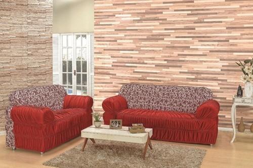 Capa para sofá de 2 e 3 lugares com Elástico Vermelho