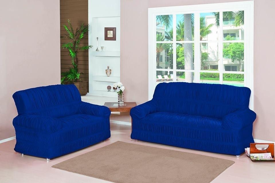 Capa para Sofá de 2 e 3 Lugares tecido de Malha em Gel com Elásticos - Azul