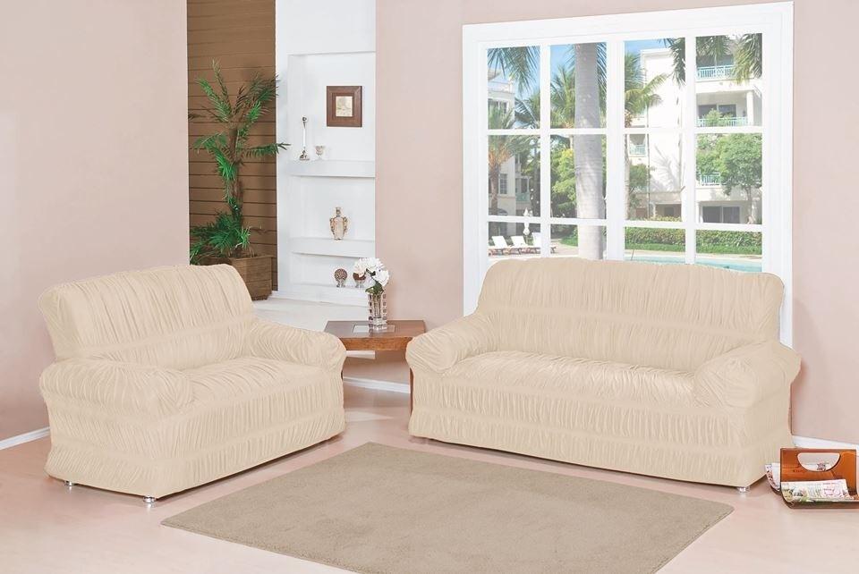 Capa para Sofá de 2 e 3 Lugares tecido de Malha em Gel com Elásticos - Palha