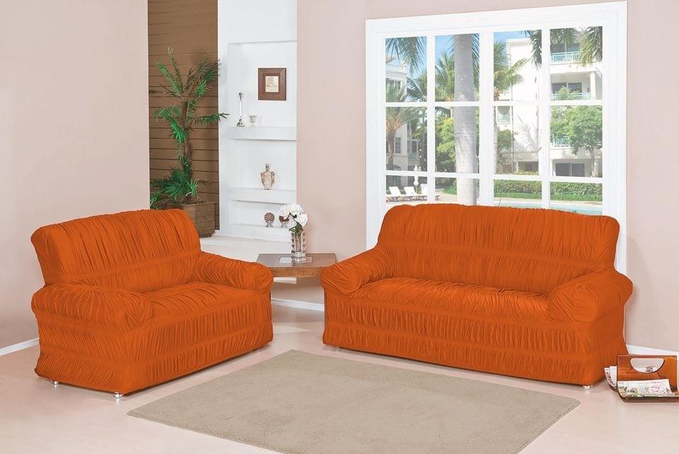 Capa para Sofá de 2 e 3 Lugares tecido de Malha em Gel com Elásticos - Laranja
