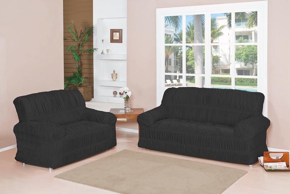 0d6a051f2 Capa para Sofá de 2 e 3 Lugares tecido de Malha em Gel com Elásticos -  Preto - VIVART enxovais