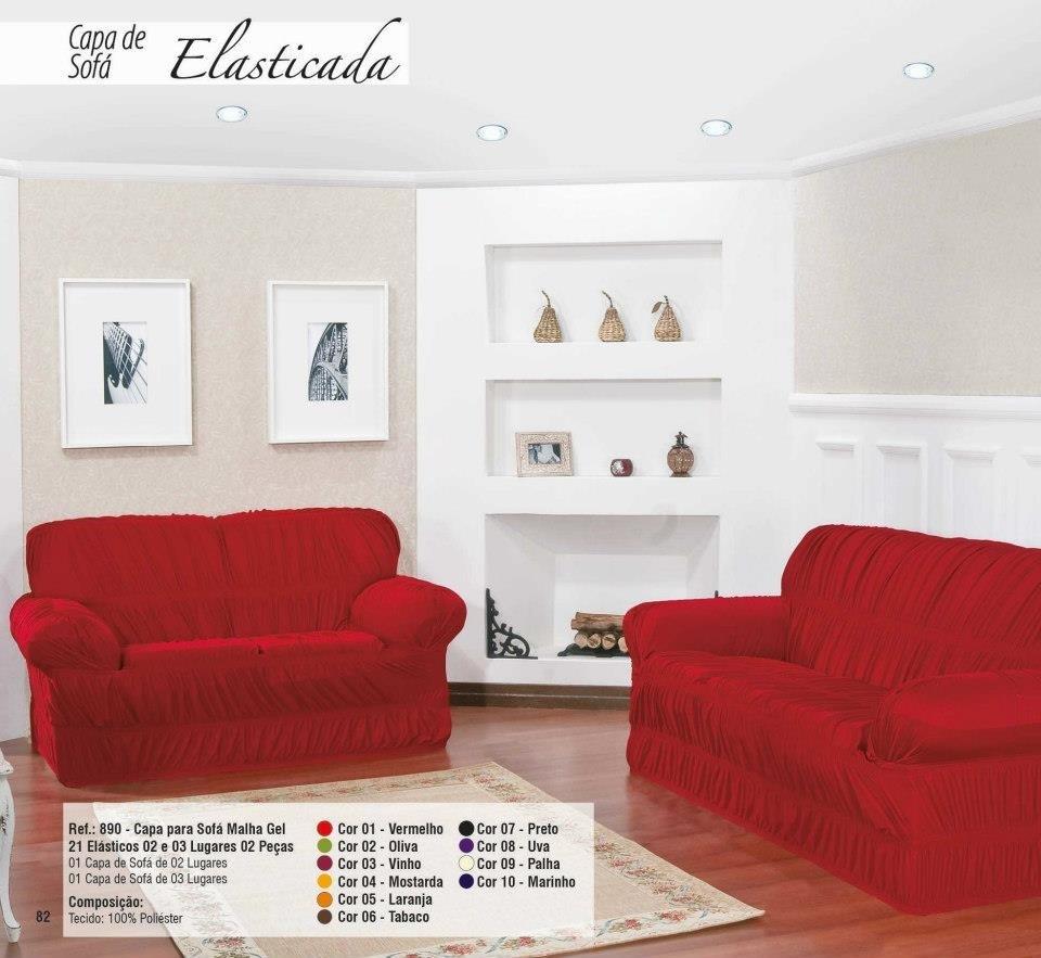 fc186468f Capa para Sofá de 2 e 3 Lugares tecido de Malha em Gel com Elásticos -  Vermelho - VIVART enxovais
