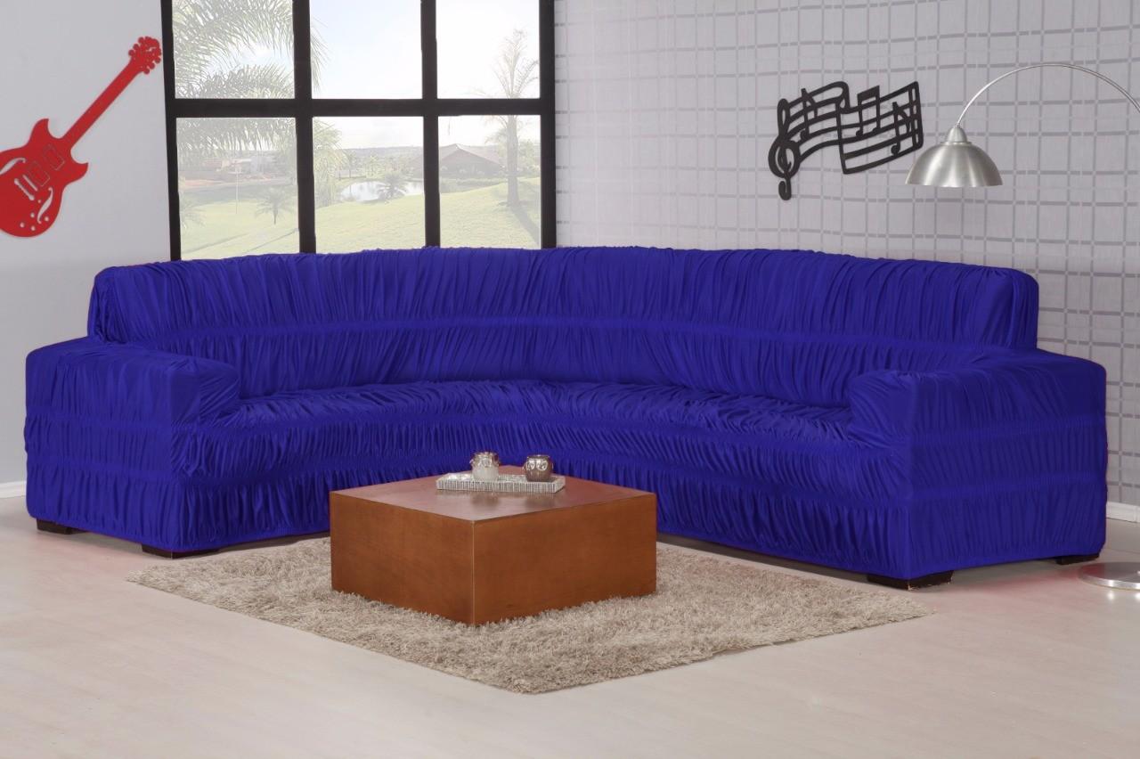 Capa para Sofá de Canto em Malha em Gel com Elásticos -Azul
