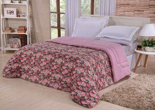 Coberdrom Casal Padrão Malha Penteada Dupla Face - Floral Rosa