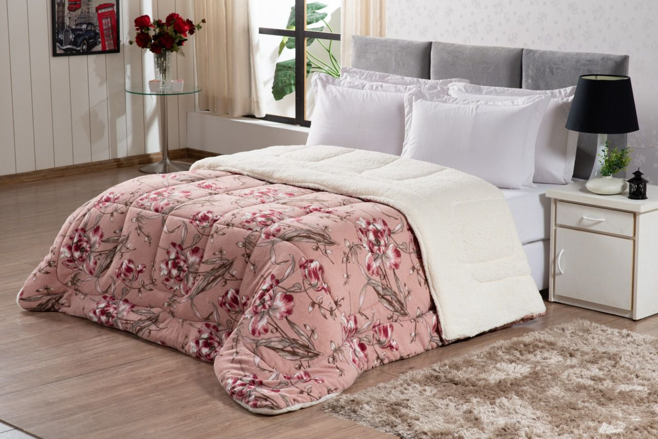 Coberdrom Sherpa Queen pele de Carneiro- Rosa Floral