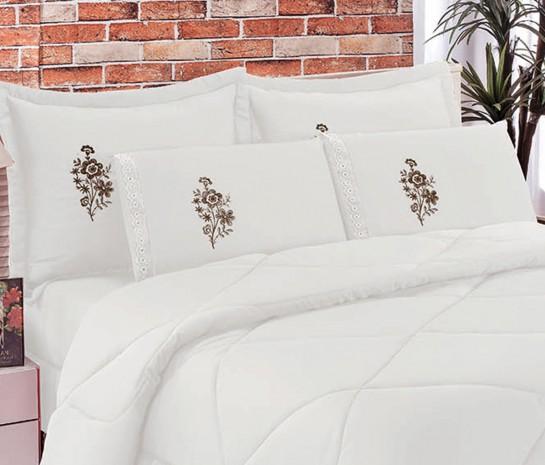 Cobre Leito Casal King Kit Conforto  + 1 Lençol de Elástico 6 PÇS - Branco