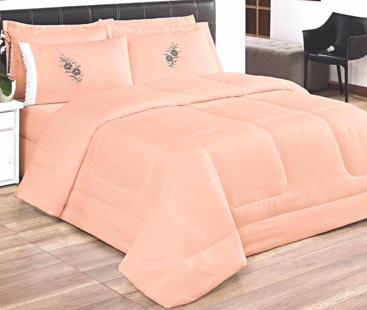 Cobre Leito Casal King Kit Conforto  + 1 Lençol de Elástico 6 PÇS - Rosa Salmão