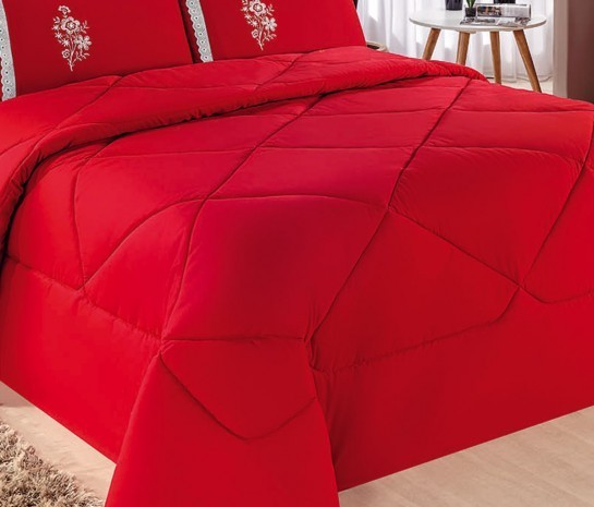Cobre Leito Casal King Kit Conforto  + 1 Lençol de Elástico 6 PÇS - Vermelho