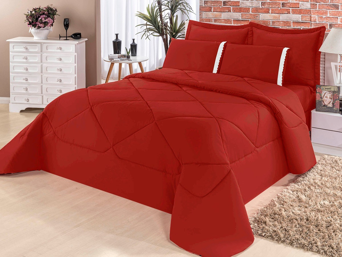 Cobre Leito Casal King Kit Conforto Liso + 1 Lençol de Elástico 6 PÇS - Vermelho