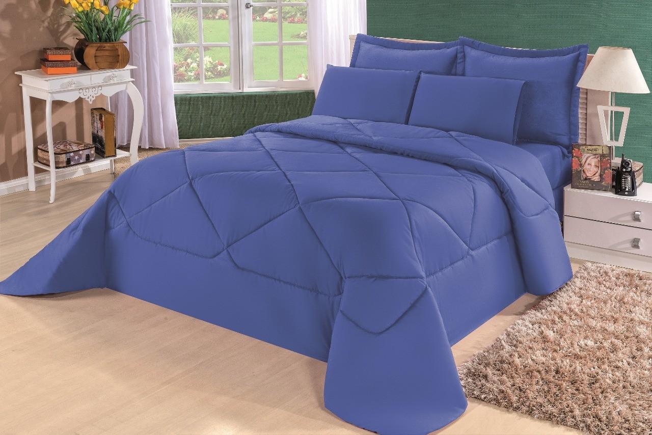 Cobre Leito Casal King Kit Conforto Liso Marrom + 1 Lençol de Elástico 6 PÇS - Azul