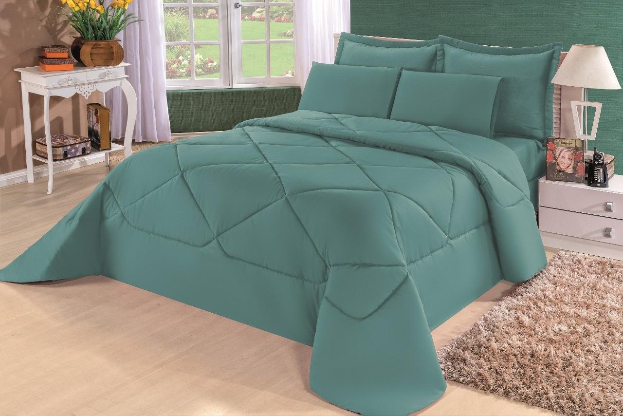 Cobre Leito Casal King Kit Conforto Liso Marrom + 1 Lençol de Elástico 6 PÇS - Verde
