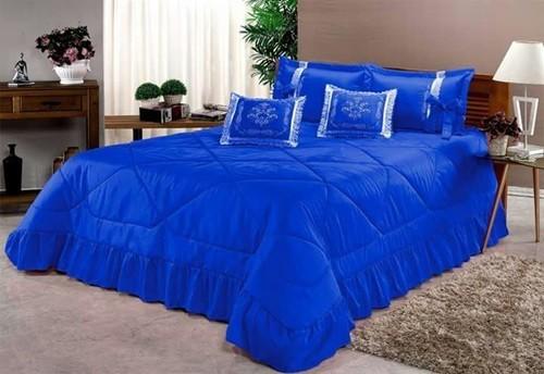 Cobre Leito Casal King Portinari 7 peças - Azul