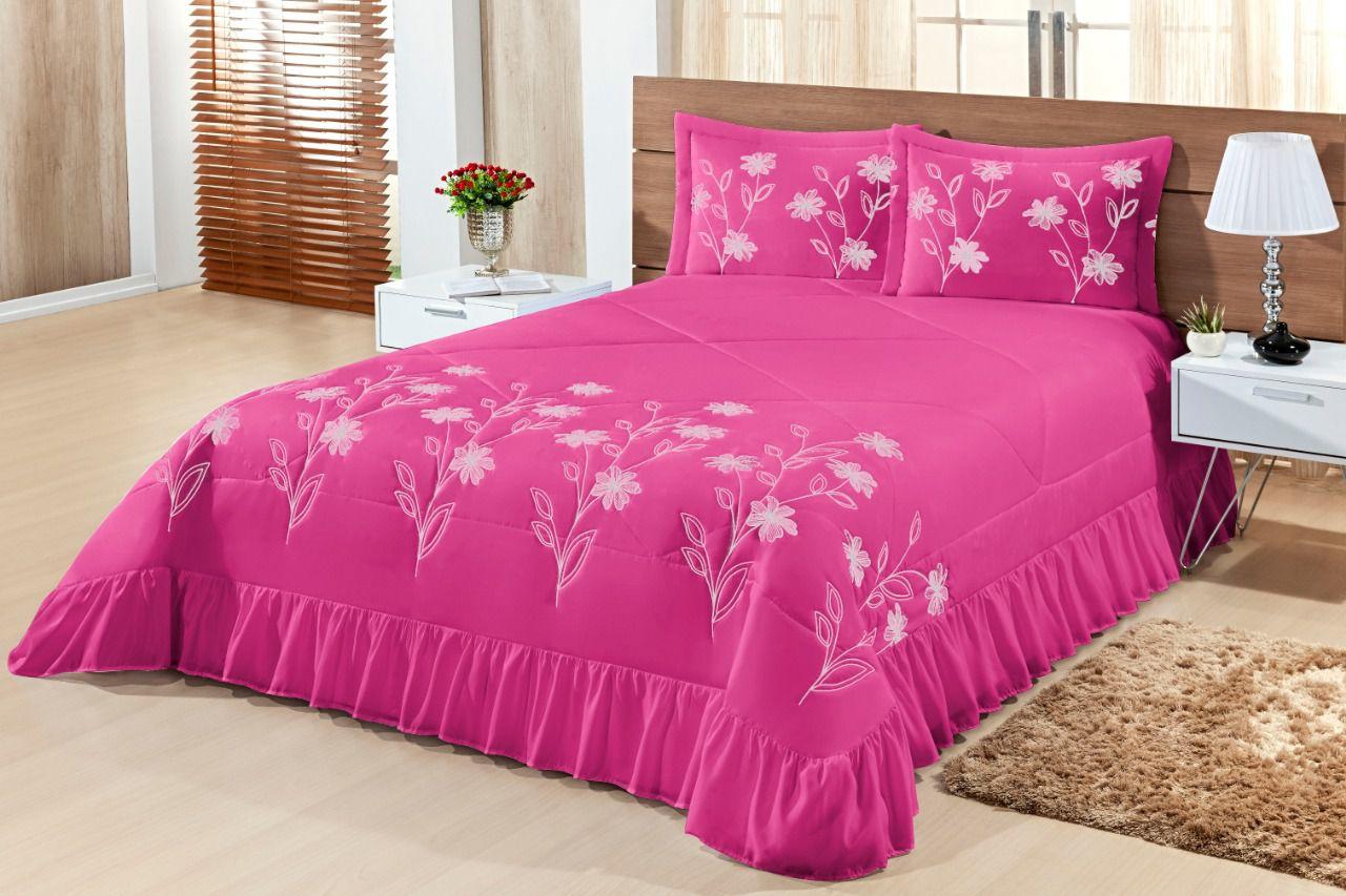 Cobre leito Casal Padrão Lírio 03 peças- Pink