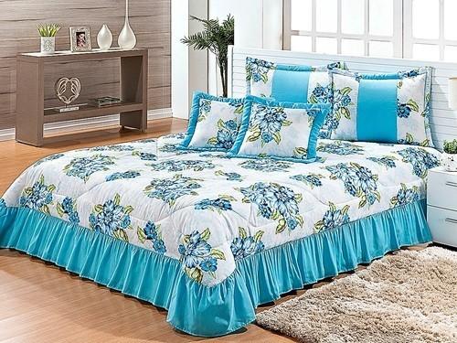 Cobre Leito Casal Queen 07 peças Kit Harmony- Floral Azul
