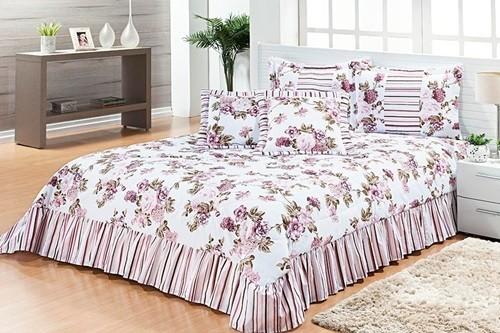 Cobre Leito Casal Queen 07 peças Kit Labelly- Floral Rosa