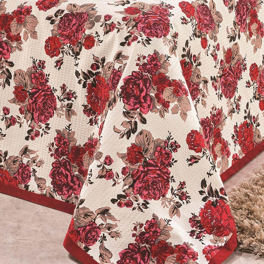 Cobre Leito Casal Queen Arezzo em Tecido Piquet 3 Peças -  Vermelho