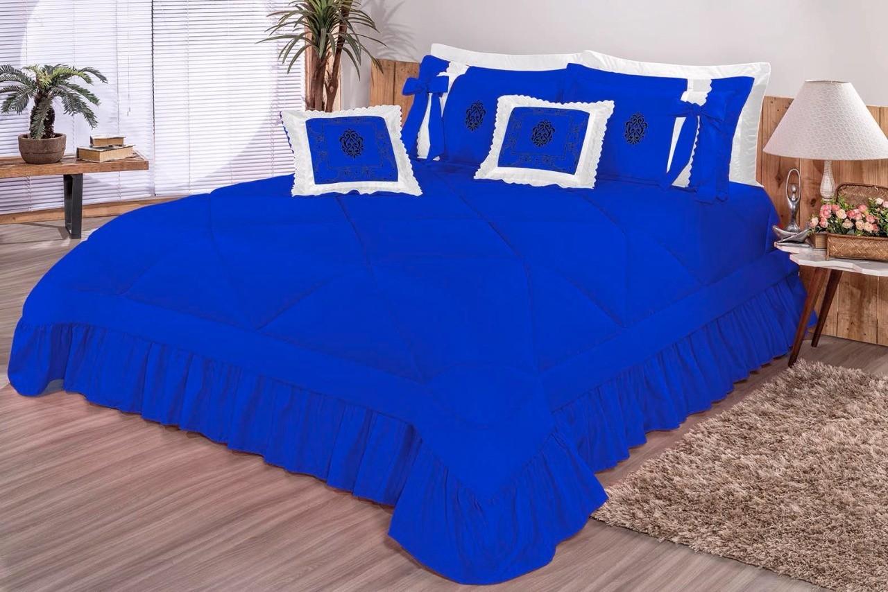 Cobre Leito Casal Queen Esplendore 7 peças - Azul