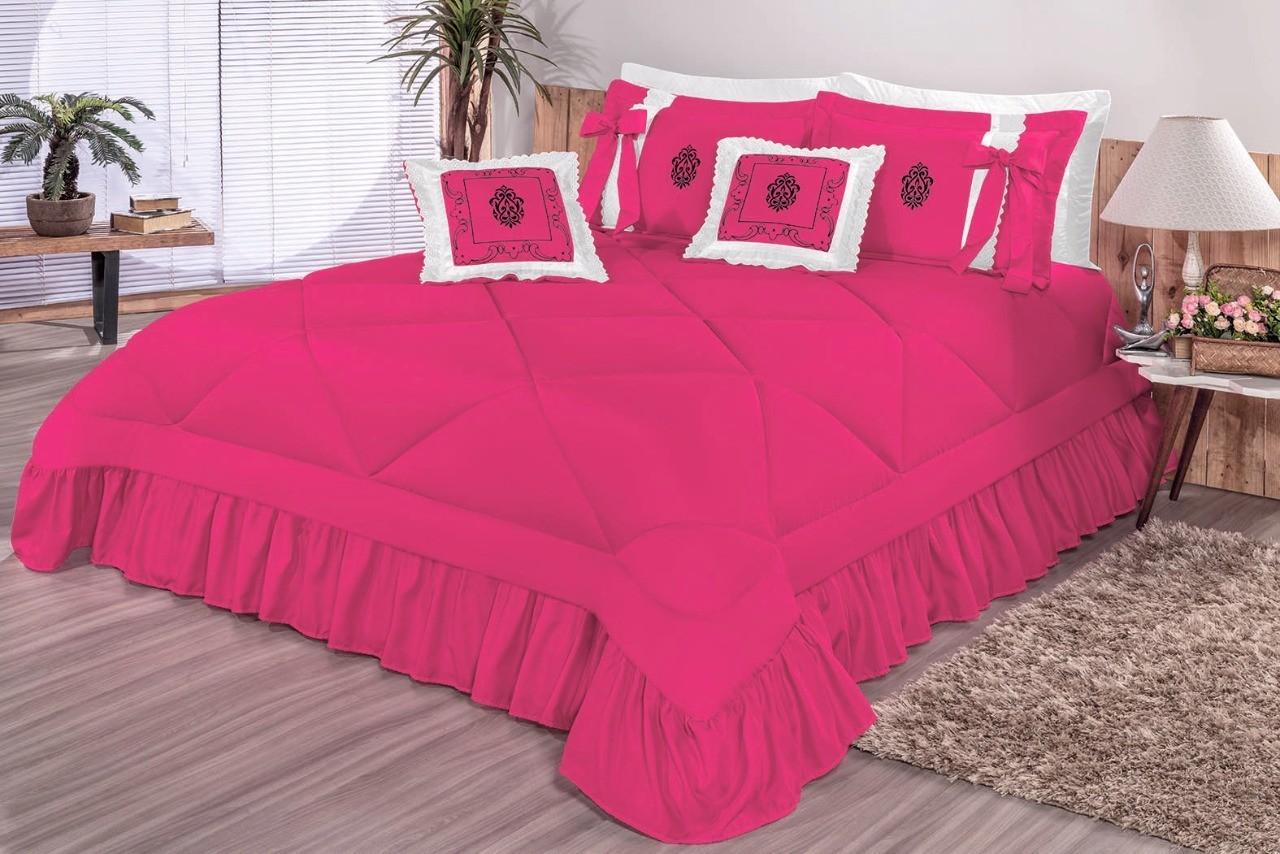 Cobre Leito Casal Queen Esplendore 7 peças - Pink