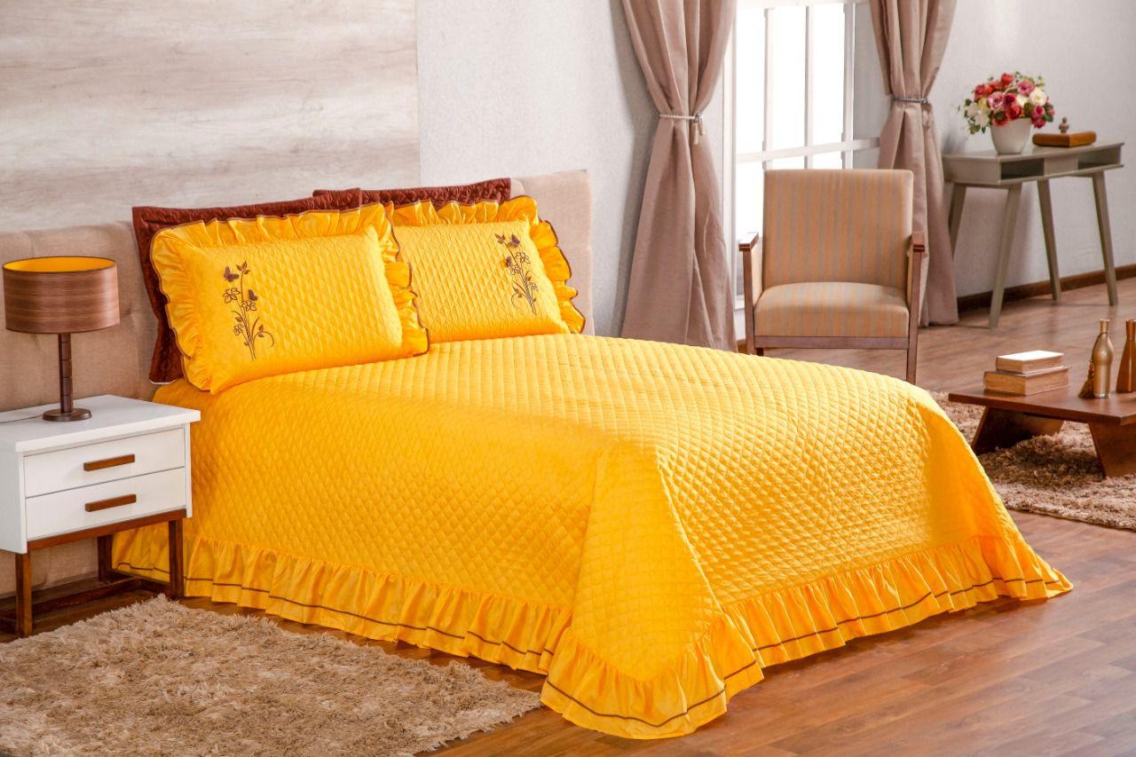 Cobre Leito Casal Queen Ester com 03 peças - Amarelo