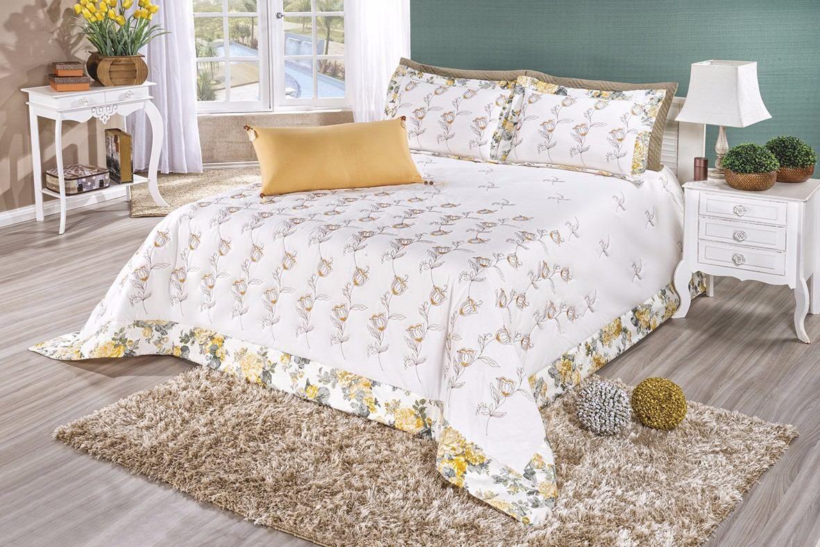 Cobre Leito Casal Queen Floralis 07 pçs 100% algodão - Mostarda