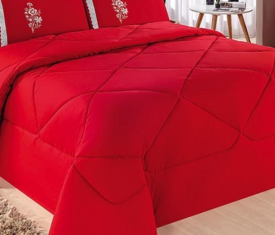 Cobre Leito Casal Queen Kit Conforto + 1 Lençol de Elástico - 6 PÇS - Vermelho