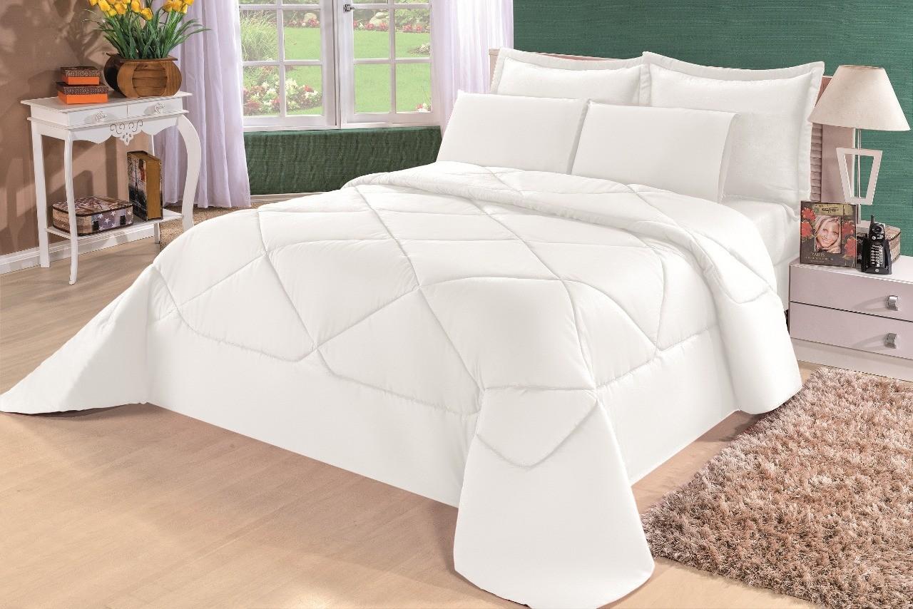Cobre Leito Casal Queen Kit Conforto Liso + 1 Lençol de Elástico  - 6 PÇS - Branco