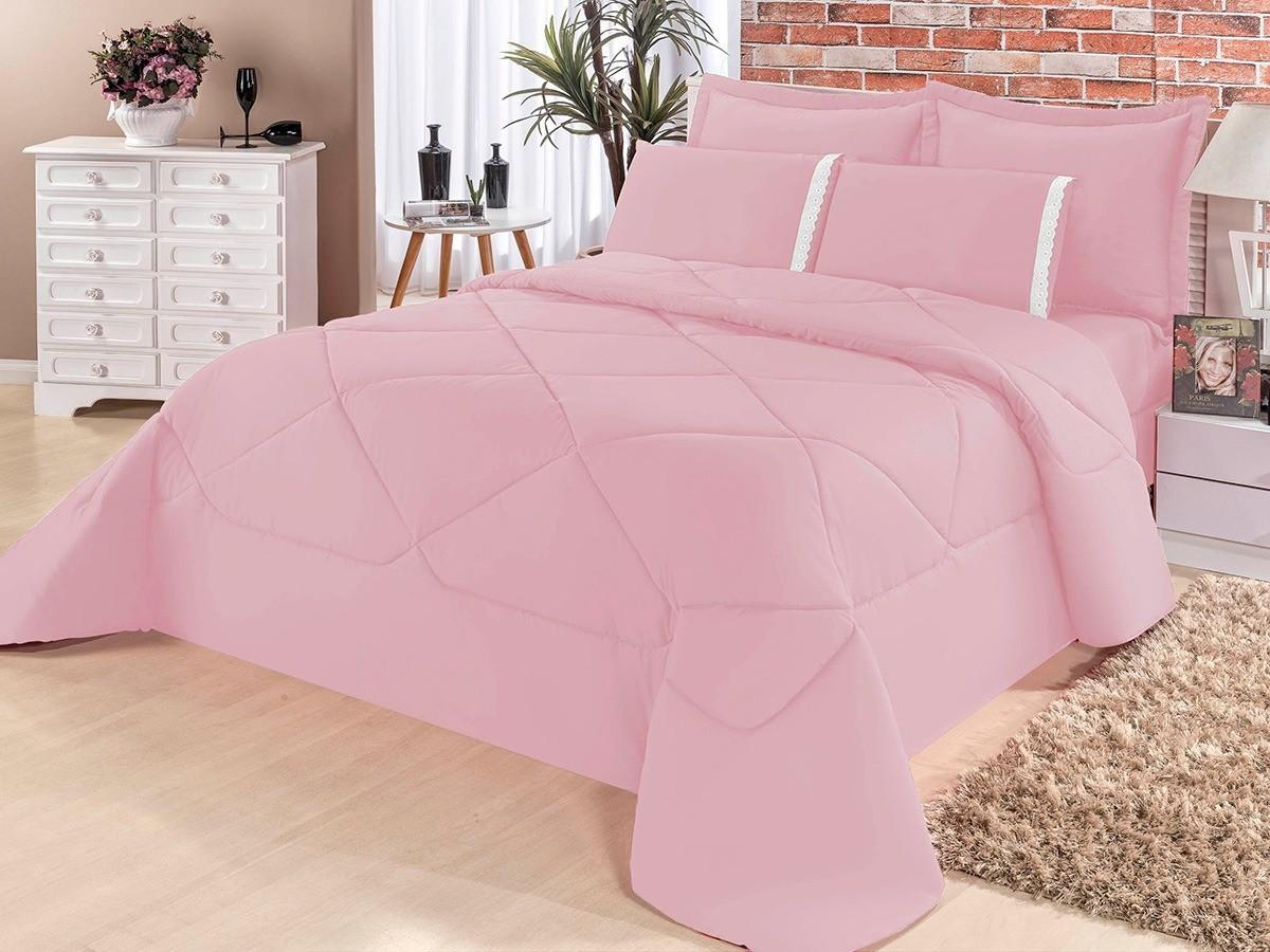 Cobre Leito Casal Queen Kit Conforto Liso + 1 Lençol de Elástico  - 6 PÇS - Rosa